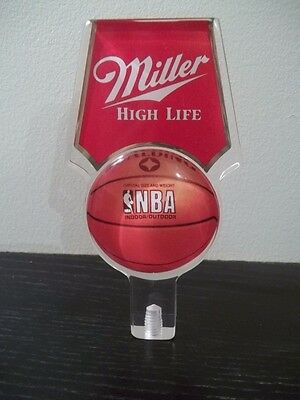 "MILLER NBA HIGH LIFE BEER TAP HANDLE TAPPER 6"" LUCITE NEW SPALDING BASKETBALL"