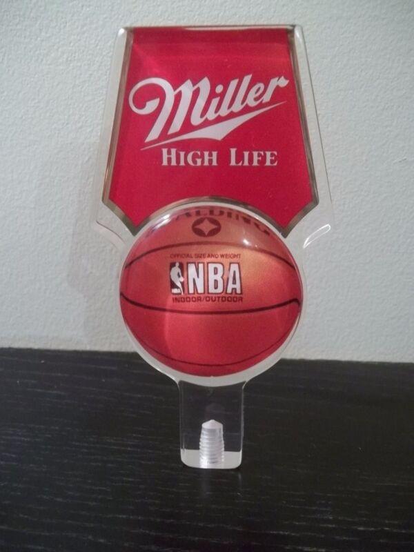 "MILLER NBA HIGH LIFE BEER TAP HANDLE TAPPER 6"" LUCITE NEW SPALDING BASKETBALL"