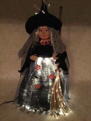 Halloween Witch Faces Pumpkins (Vtg Halloween Light Up Fiber Optic Glow Face Witch Pumpkins Figure Table)