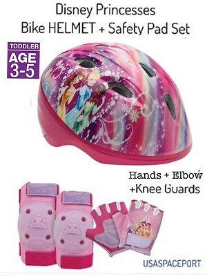 Disney Princess BIKE HELMET +GLOVES +ELBOW +KNEE PAD SET Scooter Skates Toddler