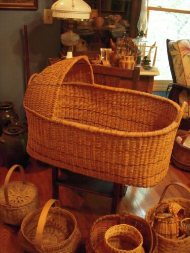 RARE Cherokee Native American Hand Crafted Moses Baby Cradle / Basket /Bassinet