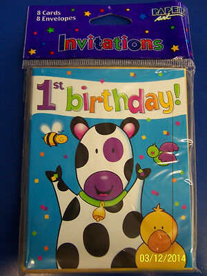 Barnyard Celebration Farm Animals Kids 1 First 1st Birthday Party Invitations (Barnyard Birthday Invitations)