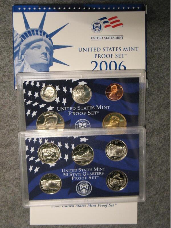 2006-S US Proof Set - Sacagawea Dollar Half Nickel Dime Cent & State Quarters