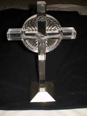 Vtg 1940's LALIQUE Jesus Christ on Cross The Crucifix Sculpture Statue Figurine