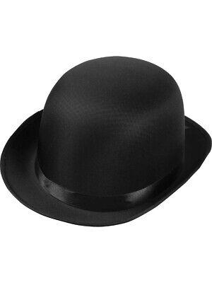 Bowler Hat Halloween Costume (Deluxe Adult Formal Black Derby Bowler Costume Coke)