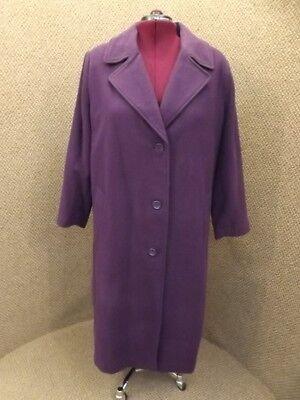 Roamans NEW Purple Long Length Notched Collar Classic Wool Blend Coat Womens 20W Classic Notched Collar Coat