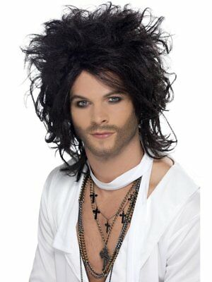 Mens Long Black Rocker Wig Big Messy Hair 80s Grunge Rock Halloween Adult Wavy