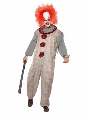 Mens Psycho Vintage Clown Costume Jumpsuit Creepy Halloween M L Adult NEW
