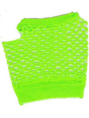 Adults Sexy Neon Green Fishnet Fingerless 80s Rock Costume Half -