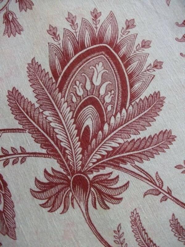 "Antique Red  Madder Cotton Fabric Hand Block Print  90"" x 33"" c1850s"