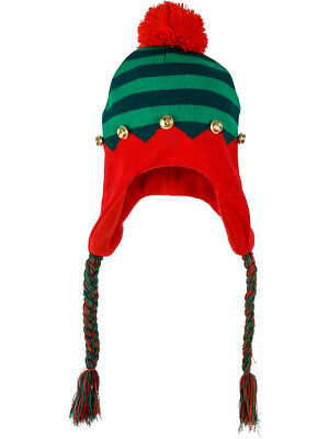 Adult's Christmas Santa's Toy Shop Elf Hat Toque With Braids Costume Accessory](Santa Costume Shop)
