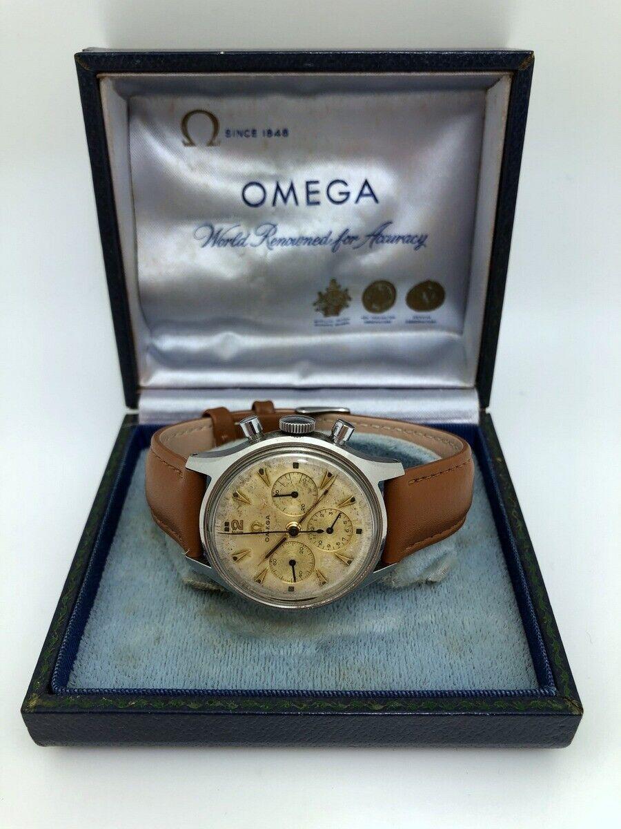 Rare 1952 Omega Chronograph 2451 Cal 321 Steel 35.5mm Pre Speedmaster Origin Box - watch picture 1