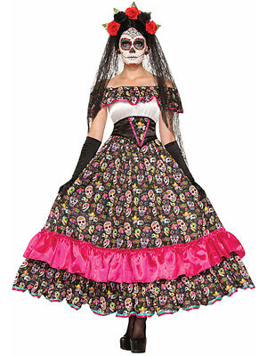 Womens Day Of The Dead Lady Skeleton Skull Mexican Festive Dress Costume](Lady Of The Dead Costume)