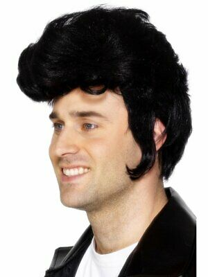 50s Greaser Wig (Mens 50s Ducktail Wig Greaser Elvis Parody Mutton Chops Black Hair Adult Rocker )
