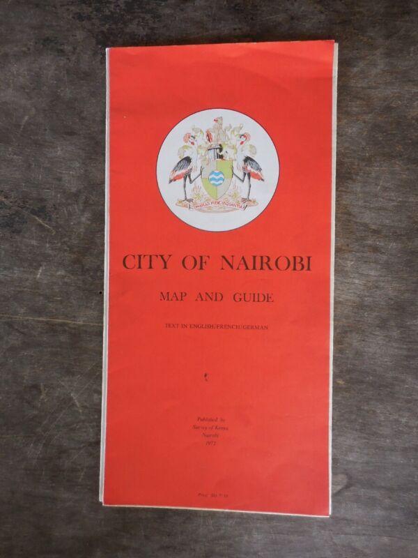 1972 City of Nairobi Kenya Africa City Map Guide