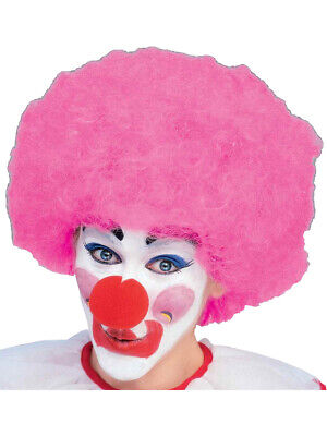 New Mens Womens Child Costume Pink Afro Clown Wigs (Pink Clown Costume)