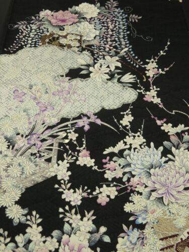 """2K02z90 Japanese Kimono Silk  FABRIC Black Flowers 62.2"""""""