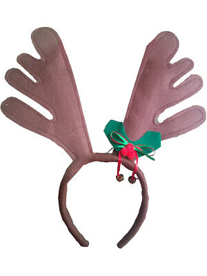 Christmas Felt Reindeer Antler Bells Headband Festive Holiday Costume Accessory ()