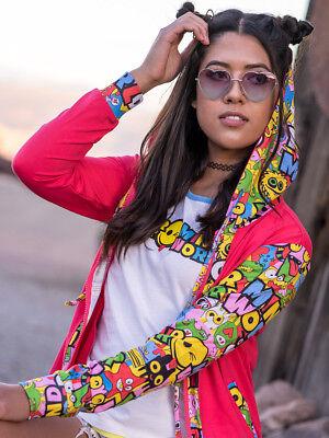 Cute Zip Up Hoodies EDM Outfits Positive Apparel Girls Hooded Sweatshirt