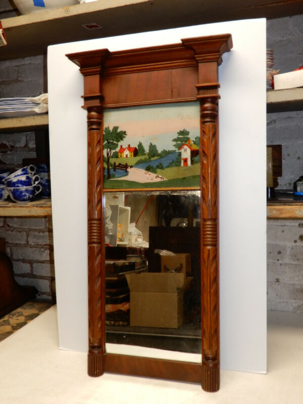 ANTIQUE AMERICAN FEDERAL REVERSE PAINTED WALL MIRROR CA 1850