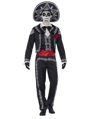 Herren Tag der Toten El Señor Knochen Mexikanisch Kostüm Kleid Outfit (Herren Tag Der Toten Halloween Kostüme)