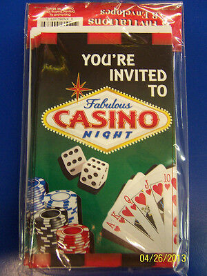 Casino Night Poker Cards Oscar Prom Theme Birthday Party Invitations w/Envelopes - Casino Invites