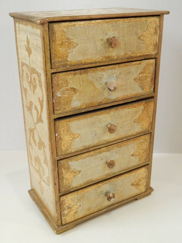 Vintage Florentine Gold Gilt Painted Five Drawer Chest Jewelry Trinket Box Italy