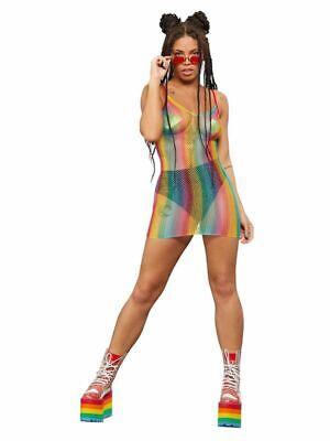 Women's Teen's Sexy Fever Rainbow Fishnet Fancy Dress Costume Clubbing LGBT Fun