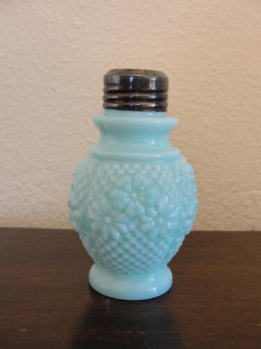 Antique Consolidated Glass Salt Shaker Cosmos Tall Blue Opaque