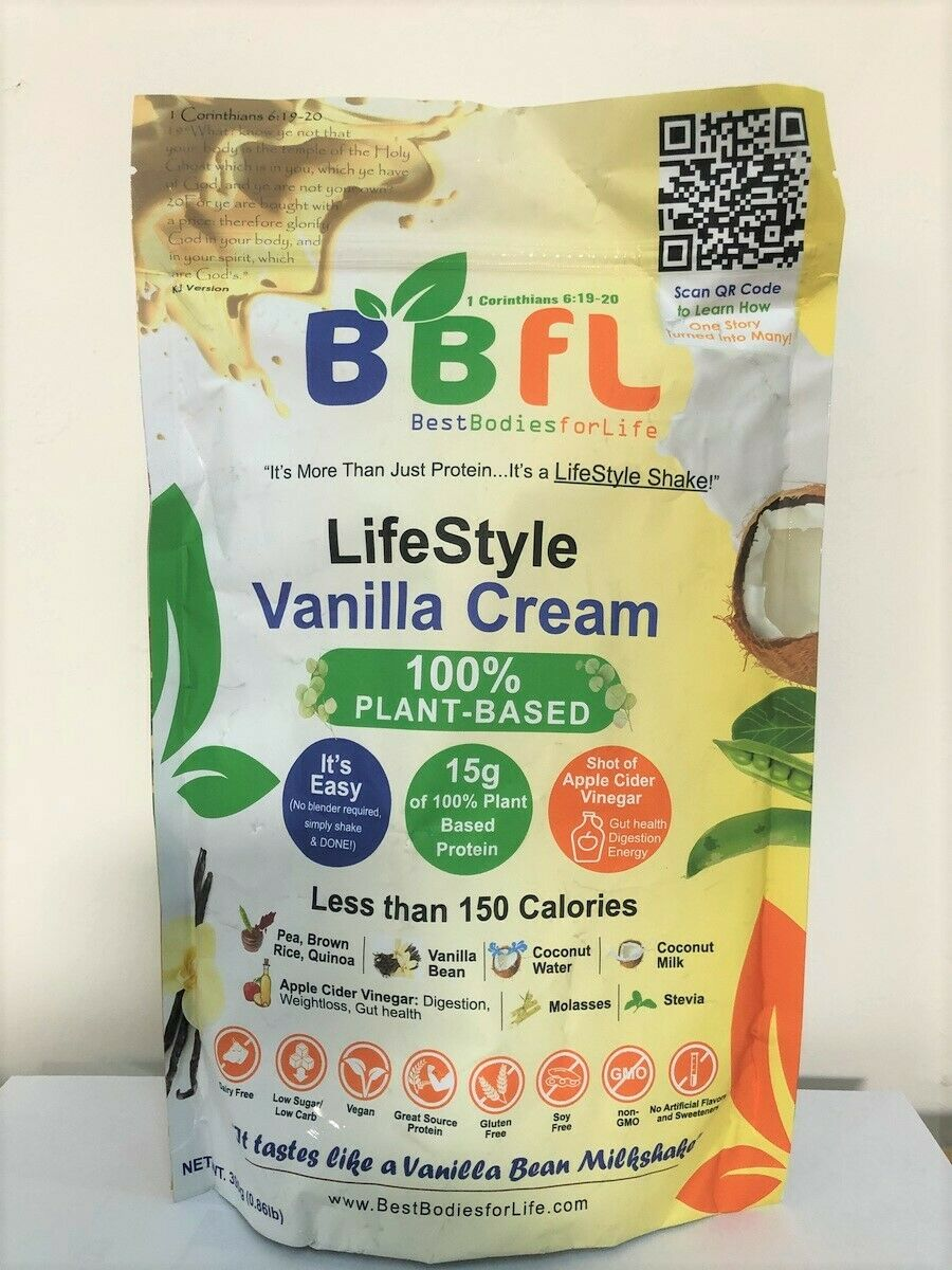 BBFL - Lifestyle Vanilla Cream Shake - 100% Plant Based (390g bag)