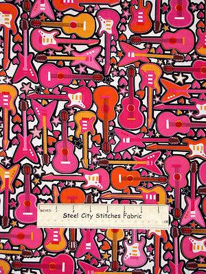 Rock Star Guitar Heart Music Theme Girls Rock #05203 Benartex Cotton Fabric - Rock Star Theme