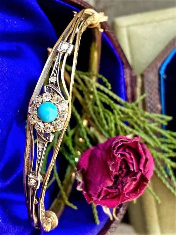 Antique VICTORIAN HALO  DIAMOND TURQUOISE 14K GOLD FLOWER BRACELET  BANGLE