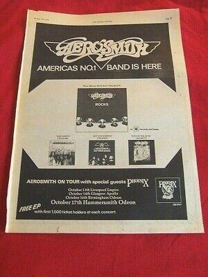 RARE AEROSMITH 1976 VINTAGE MUSIC PRESS POSTER ADVERT UK TOUR DATES ROCKS ALBUM