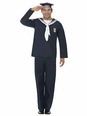Smiffys Naval Navy Seaman Sailor Uniform Blue Adult Mens Halloween Costume 22129](Sailor Halloween Costume Man)
