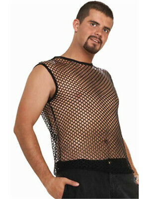 Adult Black Costume Fishnet Retro 80s Hip Hop Sleeveless Mesh Shirt - 80 Hip Hop Clothes