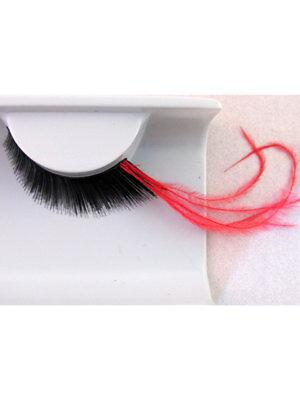 Falsche Wimpern Schwarz mit langen roten Federn GoGo (Rote Falsche Wimpern)