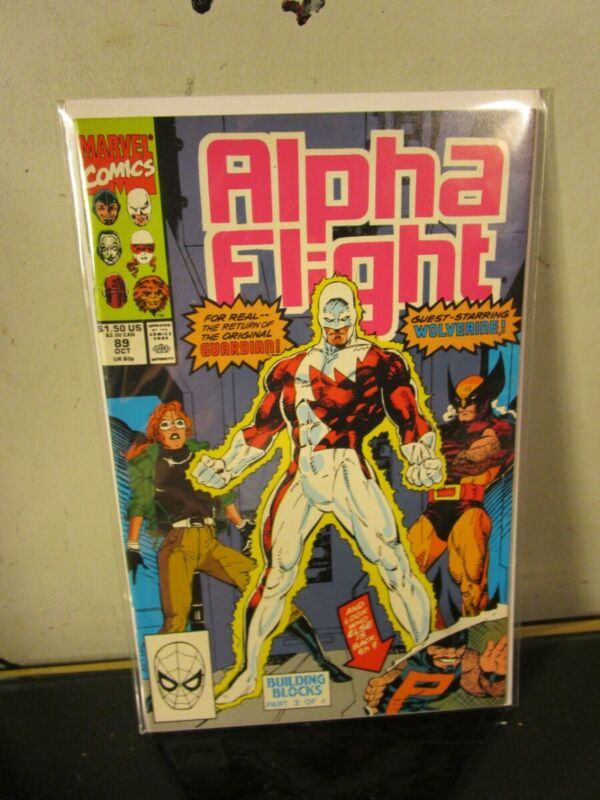 ALPHA FLIGHT 89 (1990 Marvel) Jim Lee Wolverine BAGGED BOARDED~