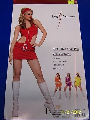 2 pc. Red Soda Pop Girl 60's Retro Dress Up Halloween Sexy Adult Costume