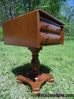 Vintage Rockport Maple 2 Drawer Pedestal Drop Leaf Table Entry Stand Nightstand 2 Drawer Maple Pedestal