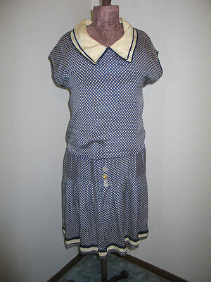 Authentic Antique VTG 1920s Silk Day Dress~Blue & White Check