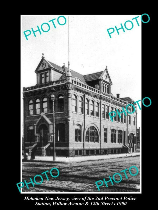 OLD 8x6 HISTORIC PHOTO OF HOBOKEN NEW JERSEY 2nd PRECINCT POLICE STATION c1900