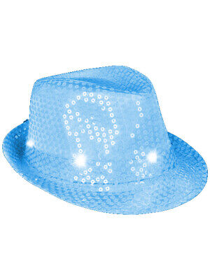 Blue Pimp Hat - Flashing Neon Blue Pimp Gangster Blues Brothers Fedora Hat Costume Accessory