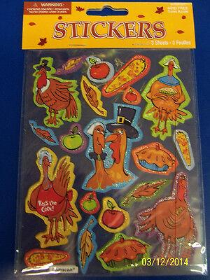 Turkeys Pilgrim Thanksgiving Holiday Party Favor Decals Seals Scrapbook Stickers