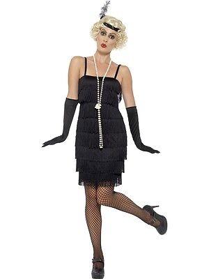 Adult Sexy Roaring 20s Black Jazz Flapper Costume W/ Headband, - Black Jazz Flapper Kostüm