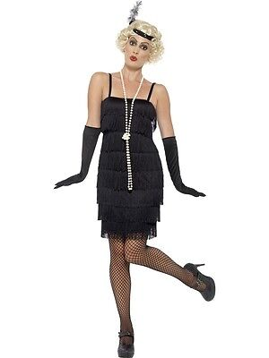 Adult Sexy Roaring 20s Black Jazz Flapper Costume W/ Headband, Gloves - Flapper Gloves Black