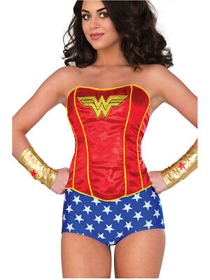 Womens Classic Wonder Woman Sequin Corset Costume Accessory Medium - Wonder Woman Corset Costume