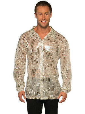 Men's 70s Dancing King Silver Sequin Disco Shirt Costume - 70s Men Costumes