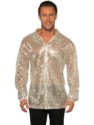 Men's 70s Dancing King Silver Sequin Disco Shirt Costume - Silver Disco Shirt