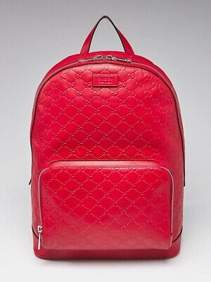 Gucci Red Guccissima Leather Signature Backpack Bag