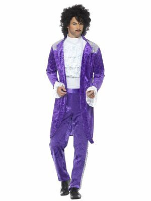 Smiffys 80s Purple Musician Prince Rain Velvet Adult Halloween Costume 48004 - Musician Prince Halloween Costumes